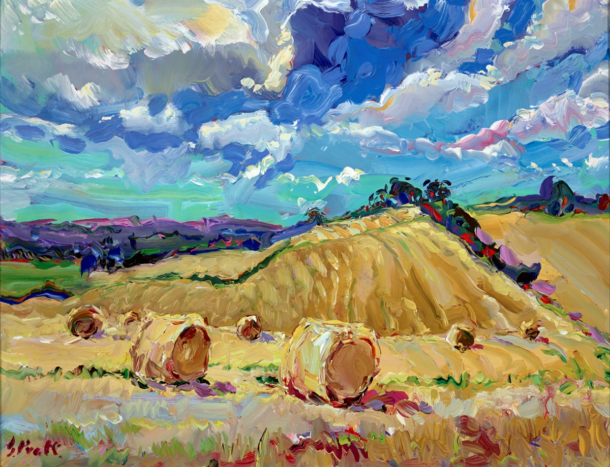 Barley Bales, Early October by jeffrey pratt -  sized 26x20 inches. Available from Whitewall Galleries